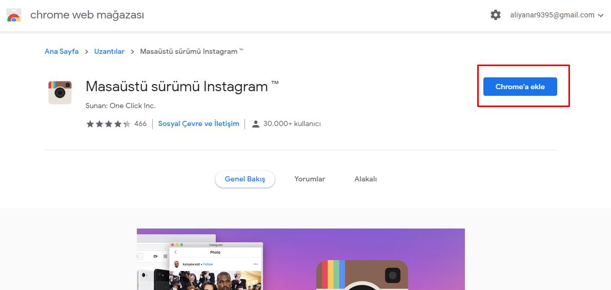 Instagram Chrome Uzantı Yükleme